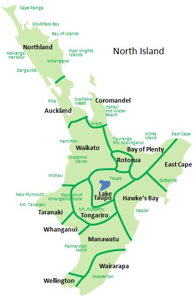 New Zealand Tourist Map North Island.New Zealand Regions And Travel Tips Tourleader New Zealand