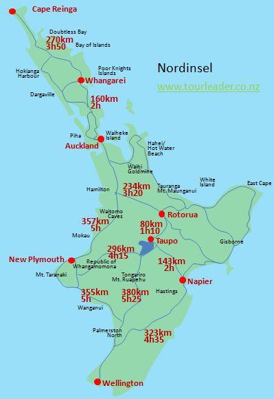 Neuseeland Nordinsel Karte.Distanzen Und Fahrzeiten In Neuseeland Tourleader Neuseeland