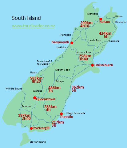 South Island Map Of New Zealand.New Zealand Travel Distances And Driving Times Tourleader New Zealand